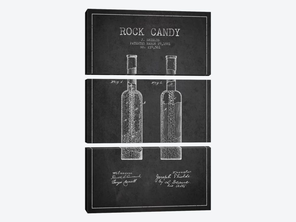 Rock Candy Charcoal Patent Blueprint by Aged Pixel 3-piece Art Print