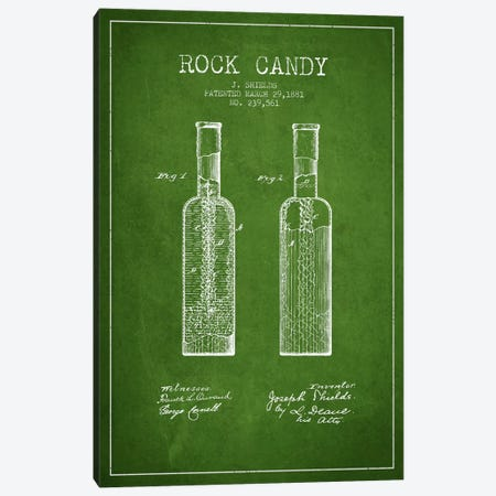 Rock Candy Green Patent Blueprint Canvas Print #ADP775} by Aged Pixel Canvas Wall Art