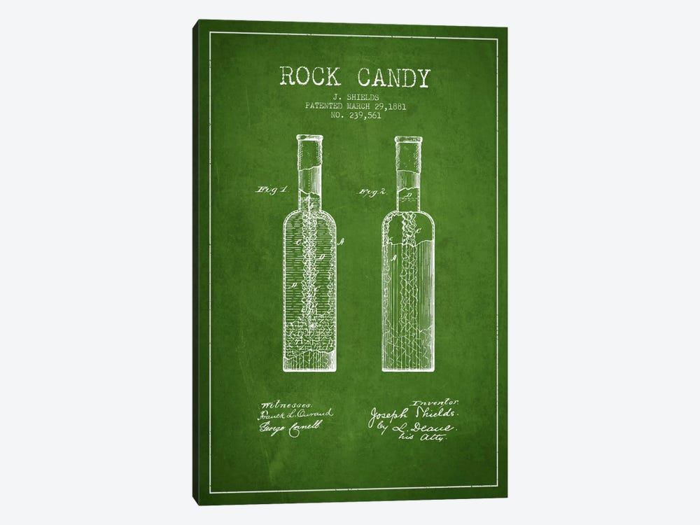 Rock Candy Green Patent Blueprint by Aged Pixel 1-piece Canvas Art