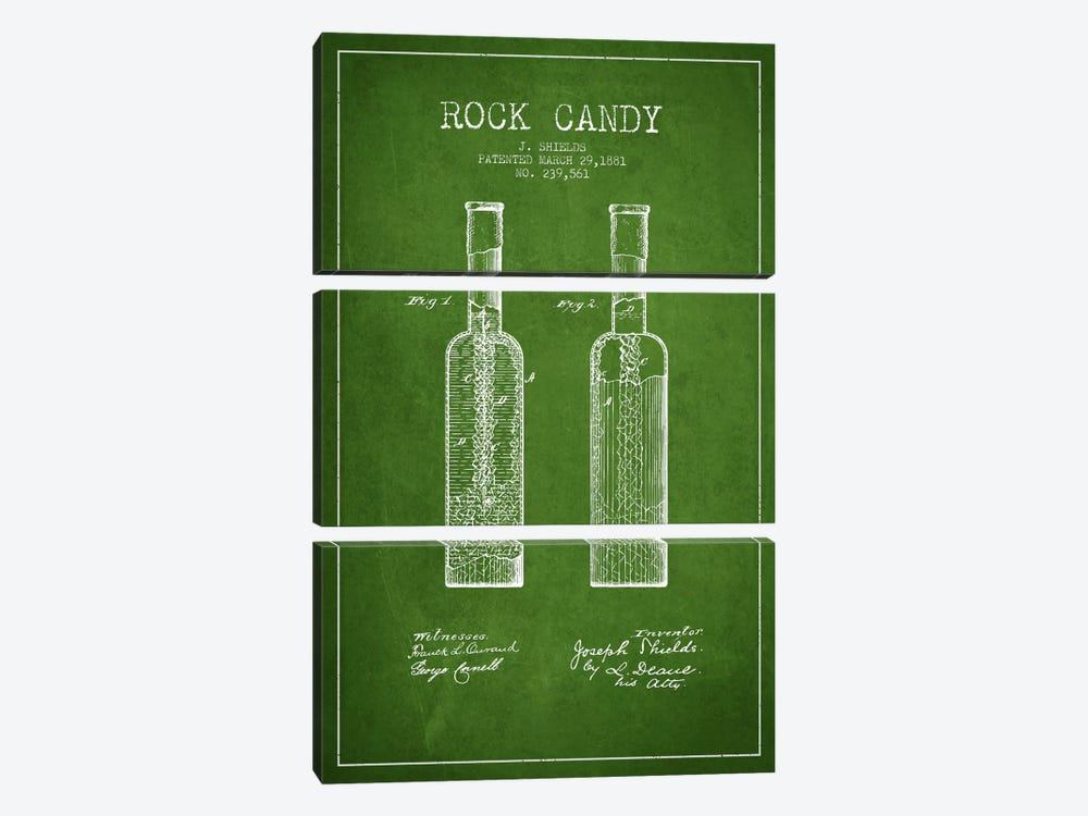 Rock Candy Green Patent Blueprint by Aged Pixel 3-piece Canvas Artwork