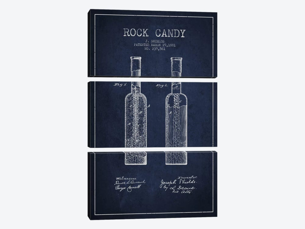 Rock Candy Navy Blue Patent Blueprint 3-piece Canvas Art Print