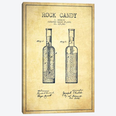 Rock Candy Vintage Patent Blueprint Canvas Print #ADP778} by Aged Pixel Art Print