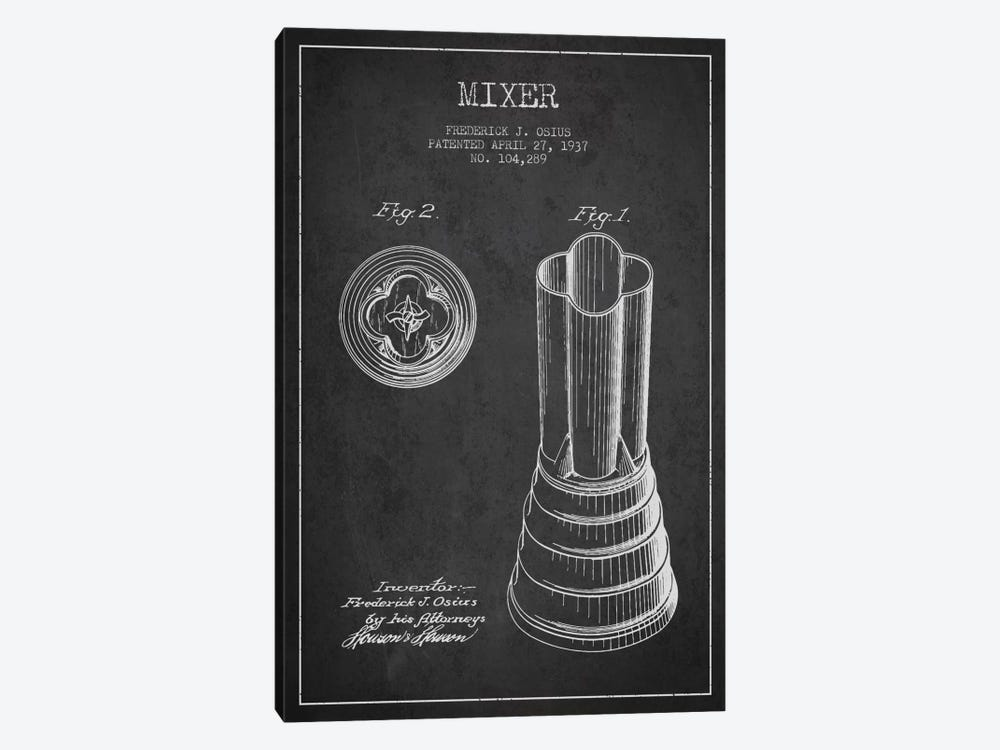 Mixer Charcoal Patent Blueprint by Aged Pixel 1-piece Canvas Artwork