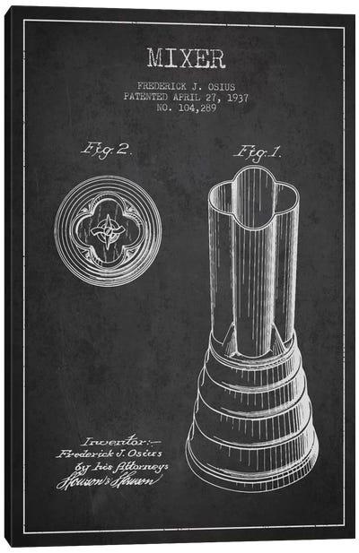 Mixer Charcoal Patent Blueprint Canvas Art Print