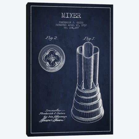 Mixer Navy Blue Patent Blueprint Canvas Print #ADP781} by Aged Pixel Canvas Wall Art