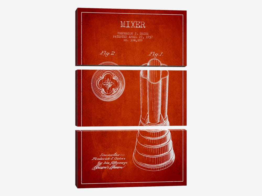 Mixer Red Patent Blueprint by Aged Pixel 3-piece Canvas Wall Art