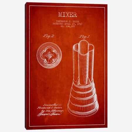 Mixer Red Patent Blueprint Canvas Print #ADP782} by Aged Pixel Canvas Art