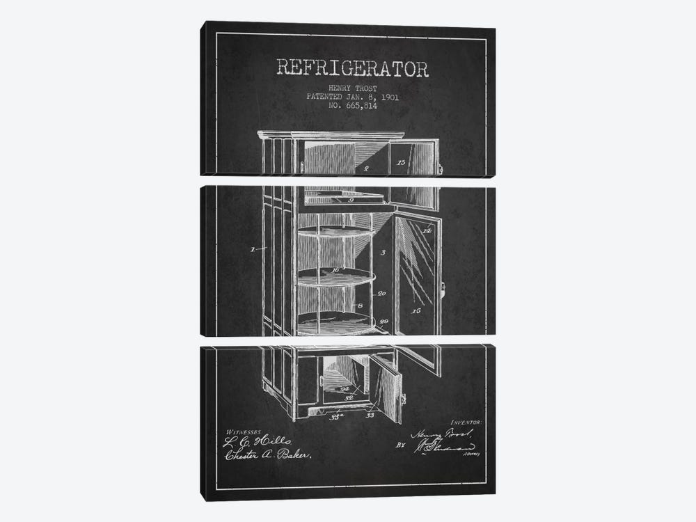 Refrigerator Charcoal Patent Blueprint by Aged Pixel 3-piece Canvas Artwork