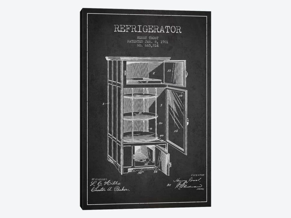 Refrigerator Charcoal Patent Blueprint by Aged Pixel 1-piece Canvas Art