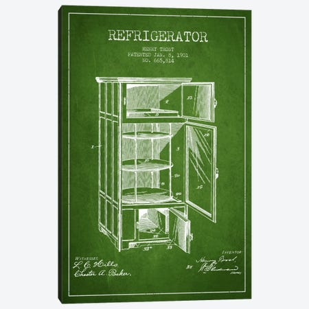 Refrigerator Green Patent Blueprint Canvas Print #ADP785} by Aged Pixel Art Print