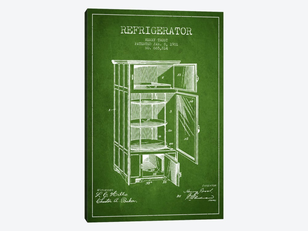 Refrigerator Green Patent Blueprint by Aged Pixel 1-piece Art Print