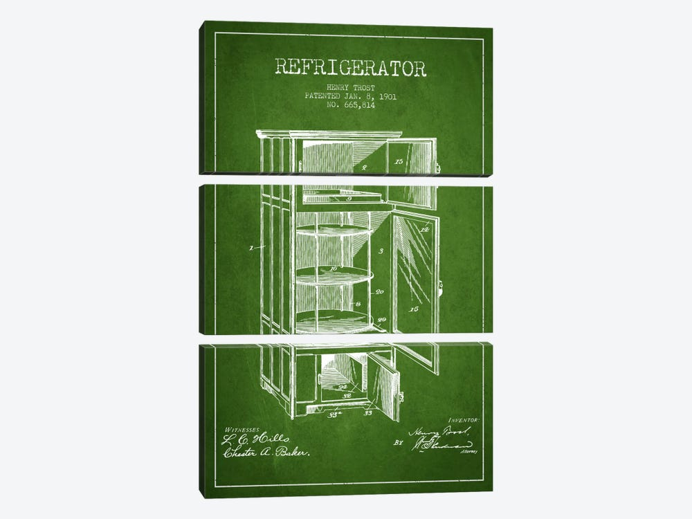 Refrigerator Green Patent Blueprint by Aged Pixel 3-piece Canvas Print