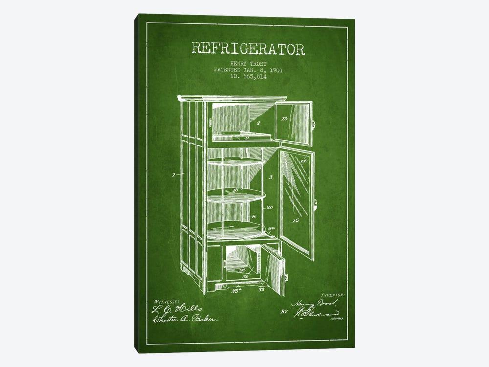 Refrigerator Green Patent Blueprint by Aged Pixel 1-piece Art Print