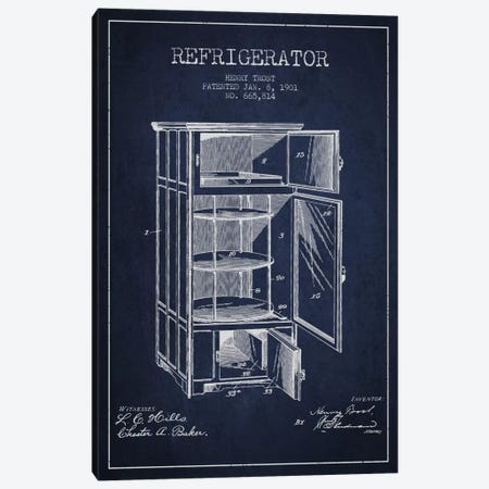 Refrigerator Navy Blue Patent Blueprint Canvas Print #ADP786} by Aged Pixel Art Print