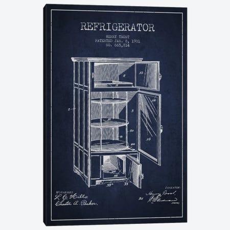 Refrigerator Navy Blue Patent Blueprint Canvas Print #ADP786} by Aged Pixel Art Print