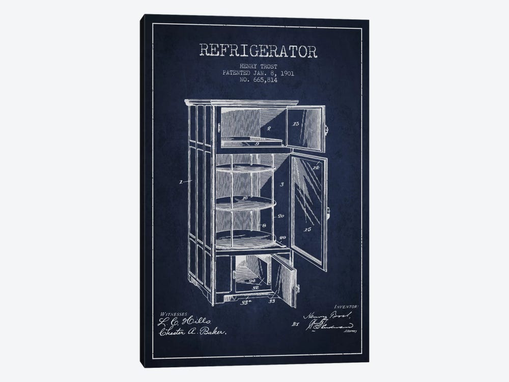 Refrigerator Navy Blue Patent Blueprint 1-piece Canvas Art