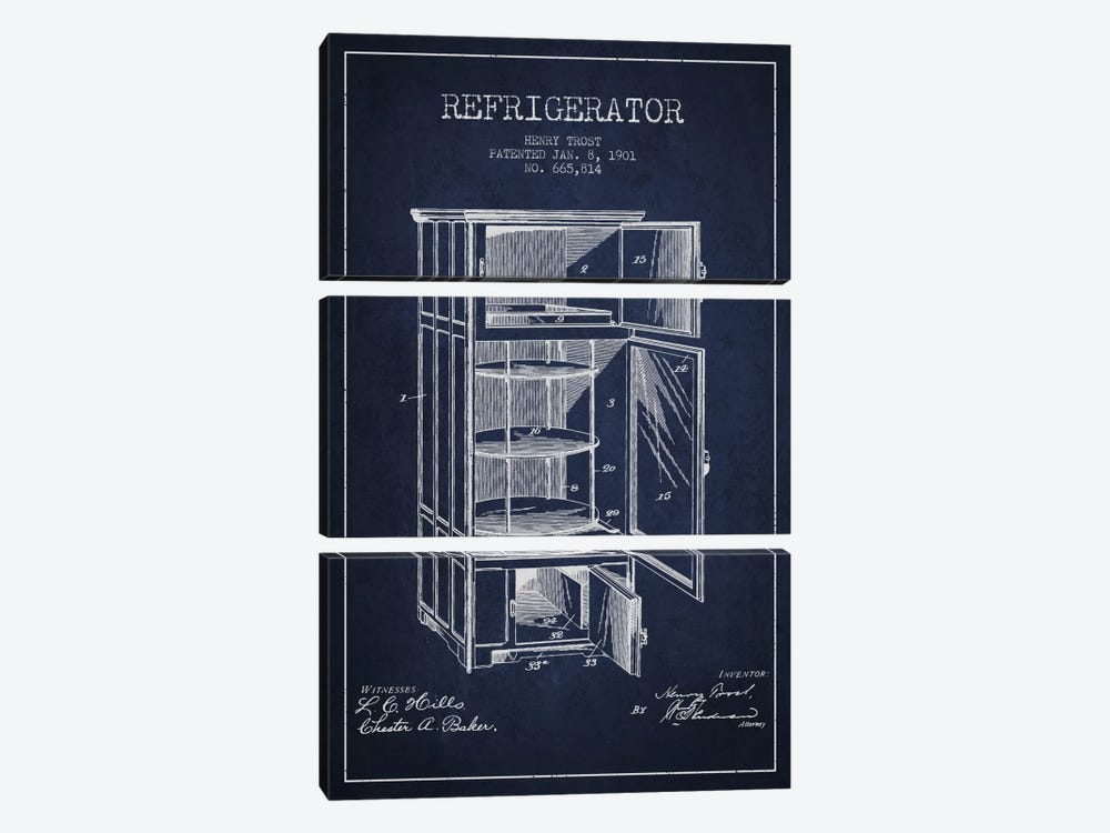 Refrigerator Navy Blue Patent Blueprint by Aged Pixel 3-piece Canvas Artwork