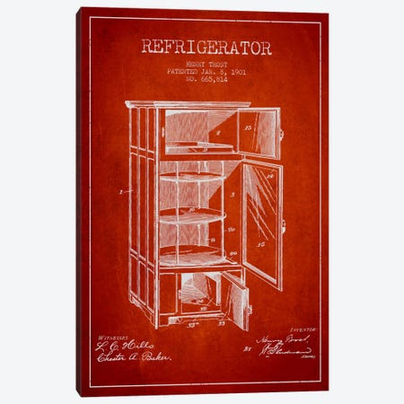 Refrigerator Red Patent Blueprint Canvas Print #ADP787} by Aged Pixel Canvas Print