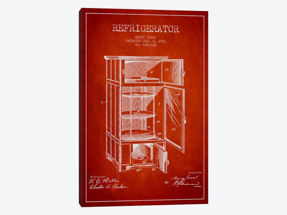 Refrigerator Red Patent Blueprint by Aged Pixel 1-piece Art Print