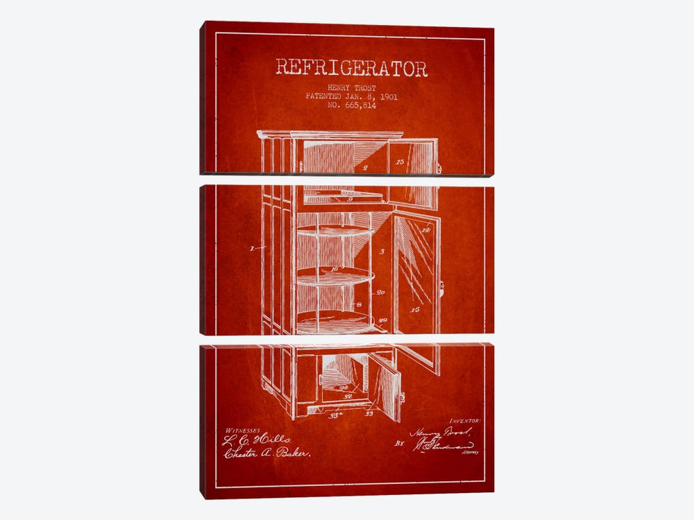 Refrigerator Red Patent Blueprint by Aged Pixel 3-piece Canvas Art Print