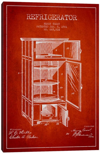 Refrigerator Red Patent Blueprint Canvas Art Print