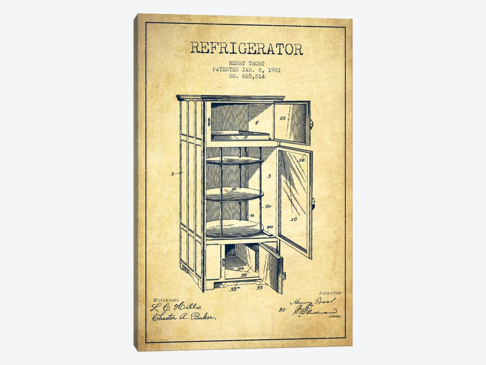 Refrigerator Vintage Patent Blueprint by Aged Pixel 1-piece Canvas Artwork