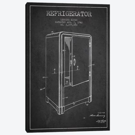 Refrigerator Charcoal Patent Blueprint Canvas Print #ADP789} by Aged Pixel Canvas Artwork