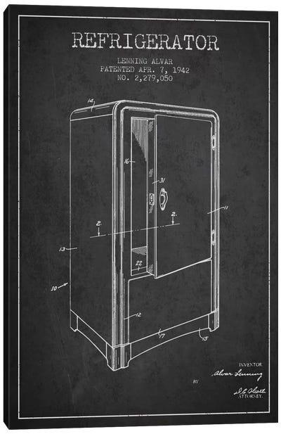 Refrigerator Charcoal Patent Blueprint Canvas Art Print
