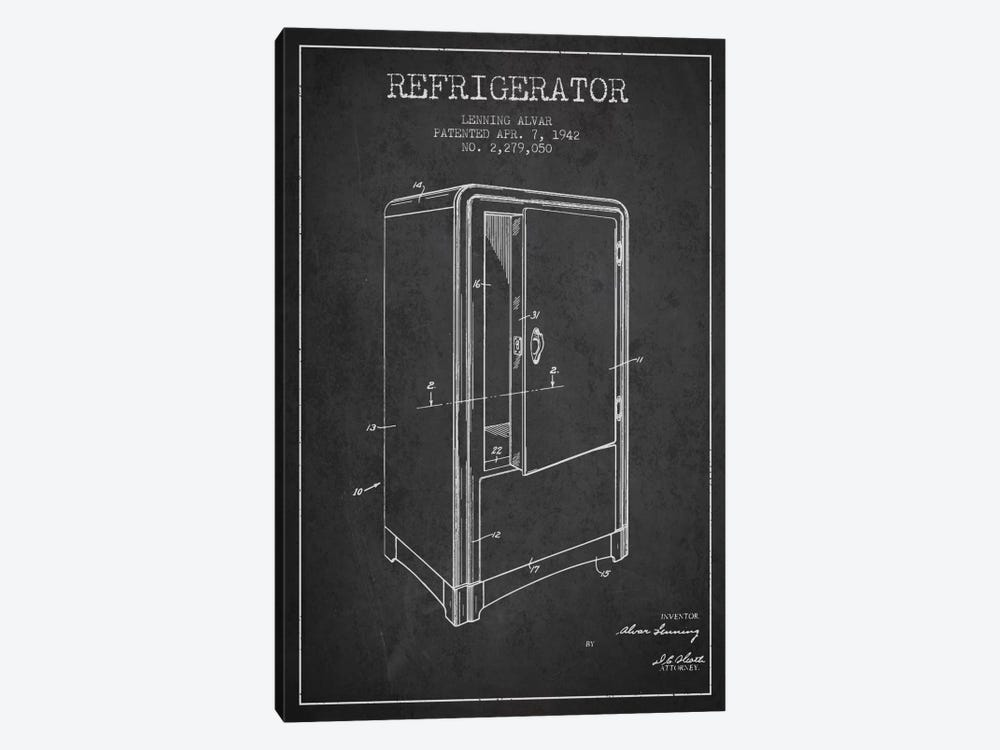 Refrigerator Charcoal Patent Blueprint by Aged Pixel 1-piece Canvas Print