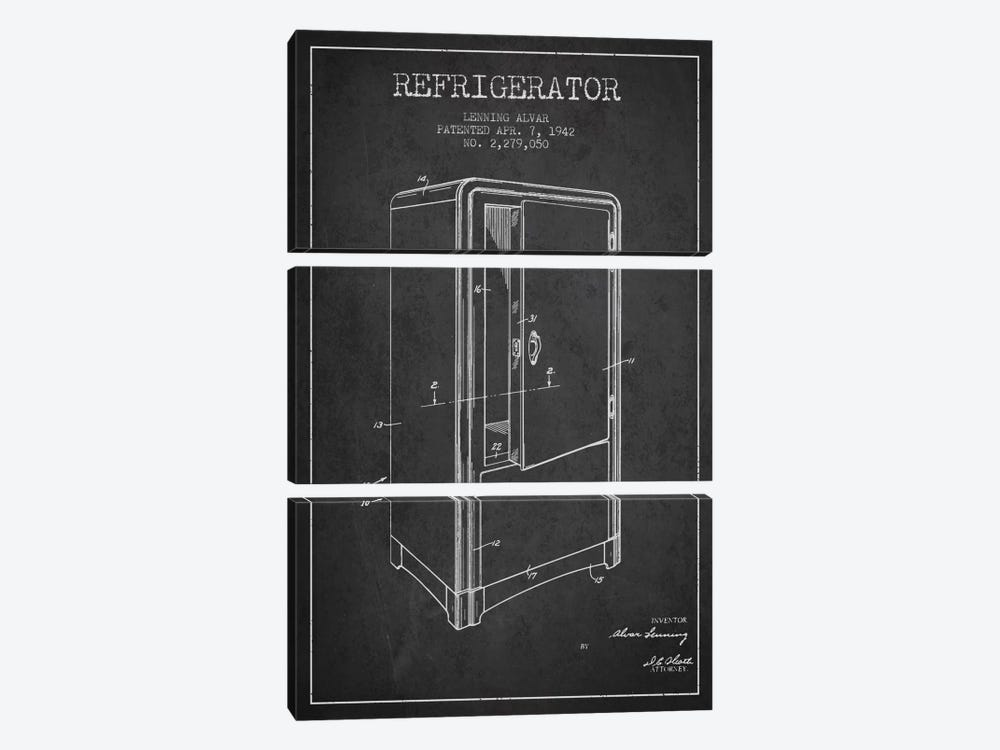 Refrigerator Charcoal Patent Blueprint by Aged Pixel 3-piece Canvas Print