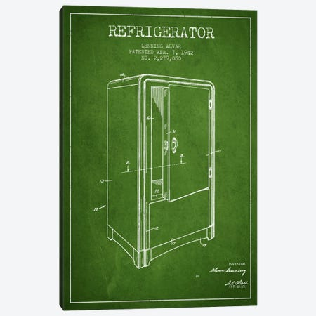 Refrigerator Green Patent Blueprint Canvas Print #ADP790} by Aged Pixel Art Print
