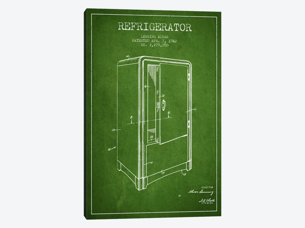 Refrigerator Green Patent Blueprint 1-piece Art Print
