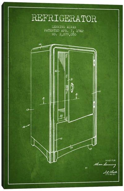 Refrigerator Green Patent Blueprint Canvas Art Print