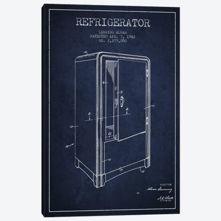 Refrigerator Navy Blue Patent Blueprint Canvas Print #ADP791} by Aged Pixel Art Print
