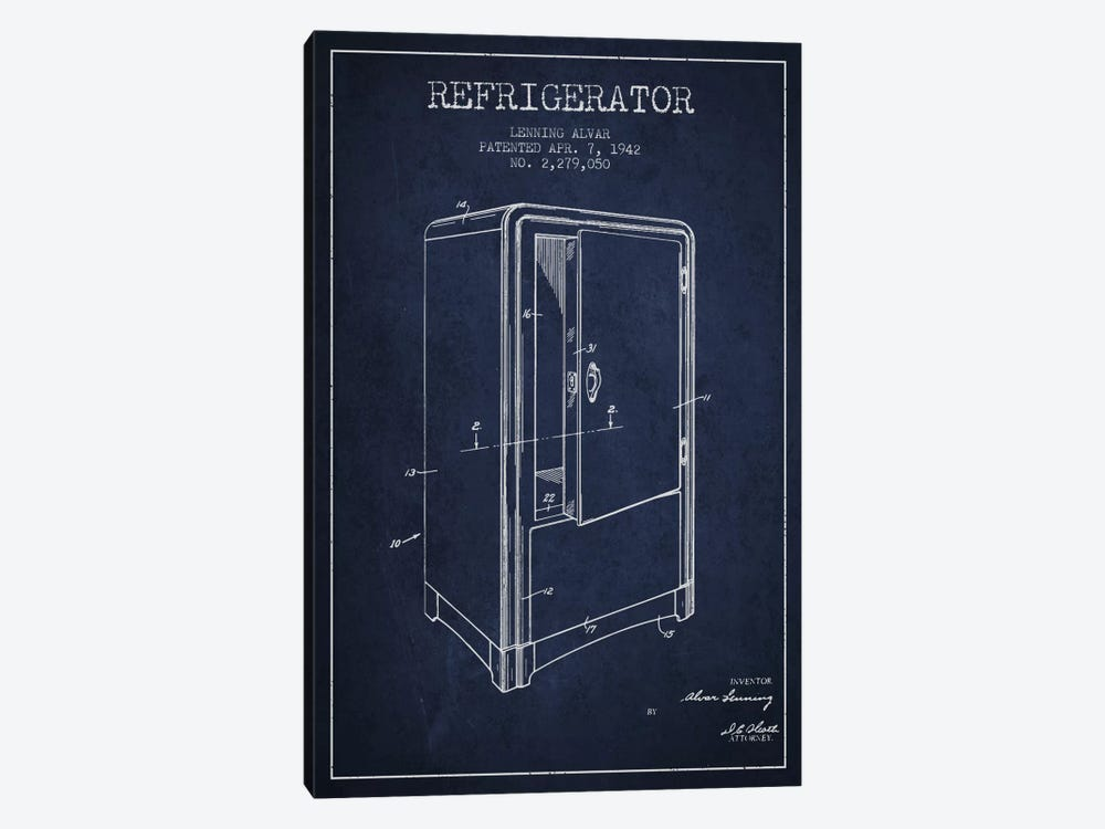Refrigerator Navy Blue Patent Blueprint by Aged Pixel 1-piece Canvas Art
