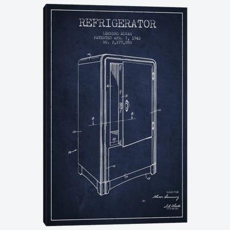 Refrigerator Navy Blue Patent Blueprint Canvas Print #ADP791} by Aged Pixel Art Print