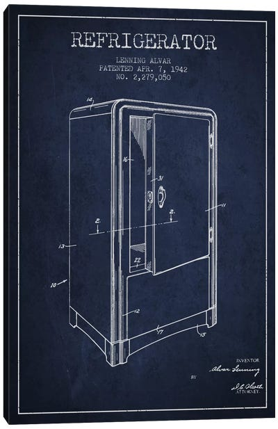 Refrigerator Navy Blue Patent Blueprint Canvas Art Print