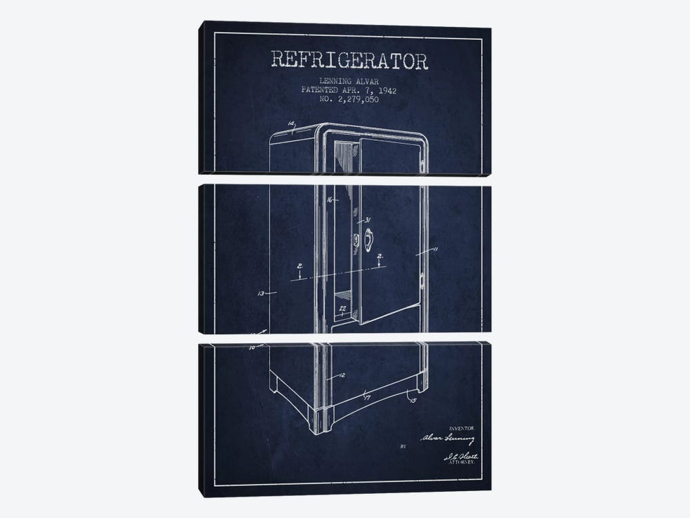 Refrigerator Navy Blue Patent Blueprint by Aged Pixel 3-piece Canvas Wall Art