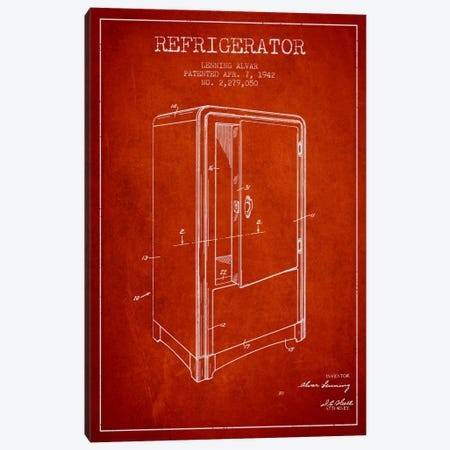 Refrigerator Red Patent Blueprint Canvas Print #ADP792} by Aged Pixel Art Print