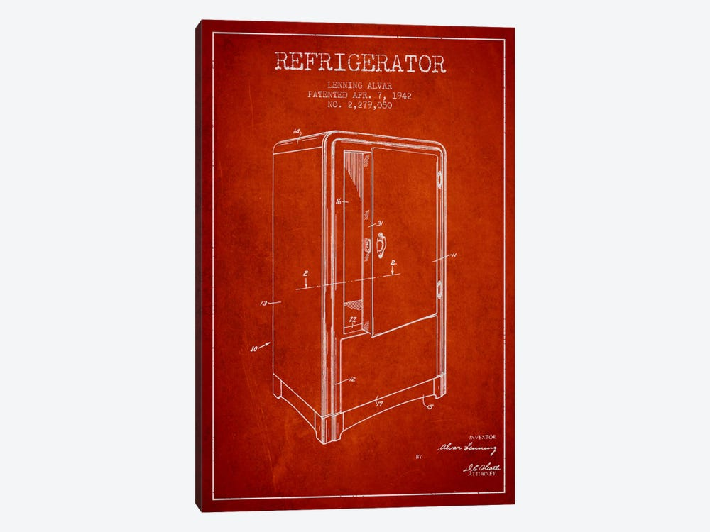 Refrigerator Red Patent Blueprint by Aged Pixel 1-piece Canvas Print