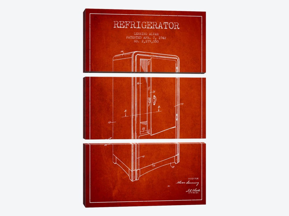 Refrigerator Red Patent Blueprint by Aged Pixel 3-piece Canvas Print