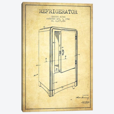 Refrigerator Vintage Patent Blueprint Canvas Print #ADP793} by Aged Pixel Canvas Print