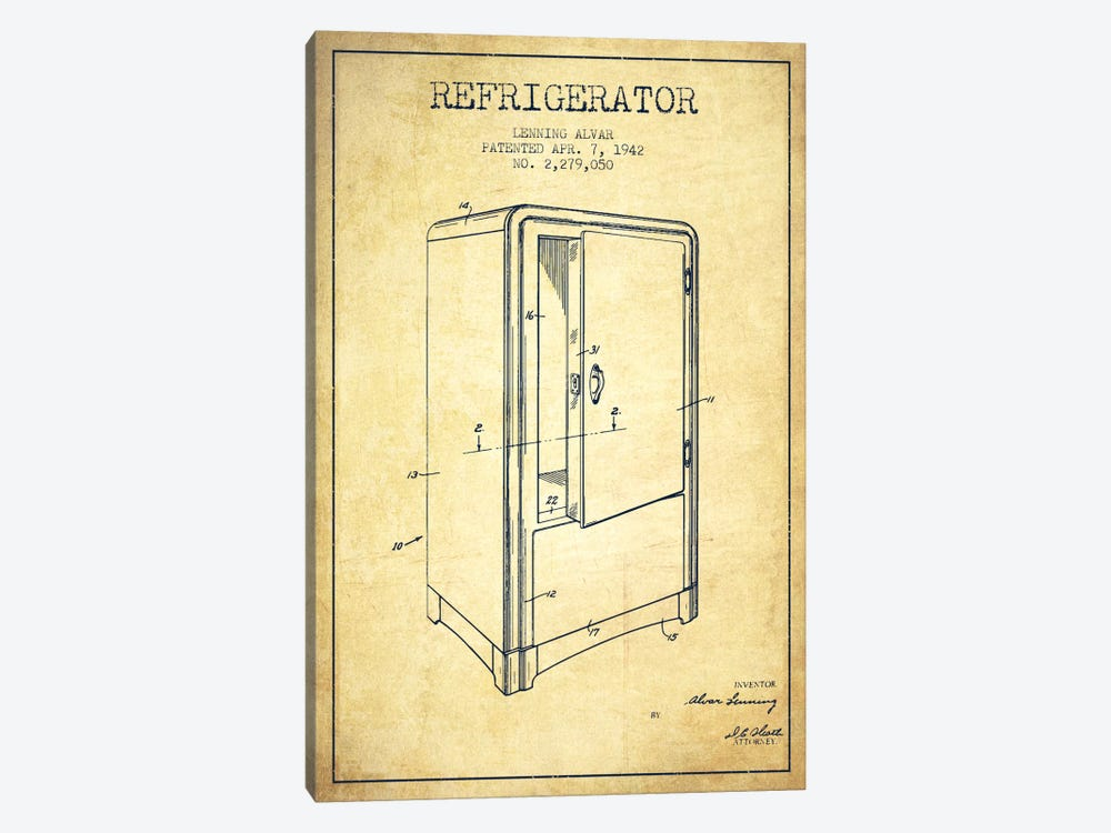 Refrigerator Vintage Patent Blueprint by Aged Pixel 1-piece Canvas Wall Art