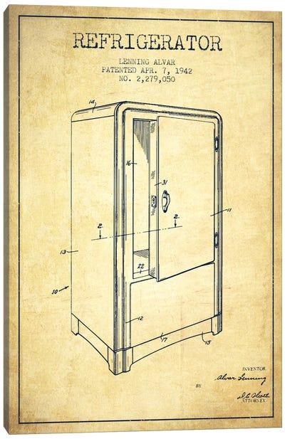 Refrigerator Vintage Patent Blueprint Canvas Art Print