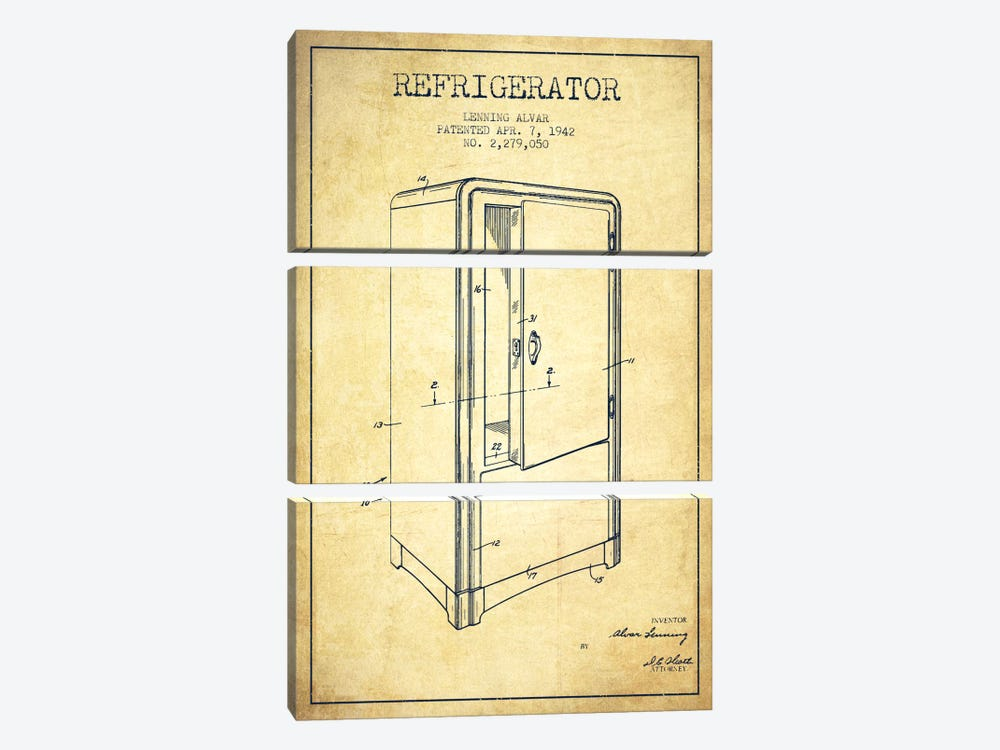 Refrigerator Vintage Patent Blueprint by Aged Pixel 3-piece Canvas Wall Art
