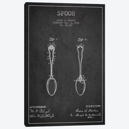 Spoon Charcoal Patent Blueprint Canvas Print #ADP794} by Aged Pixel Canvas Artwork