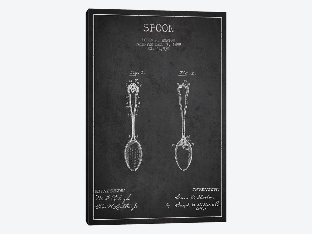 Spoon Charcoal Patent Blueprint by Aged Pixel 1-piece Canvas Art Print