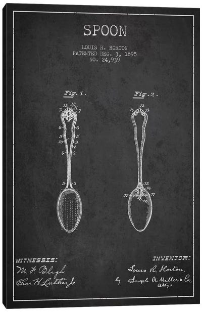 Spoon Charcoal Patent Blueprint Canvas Art Print
