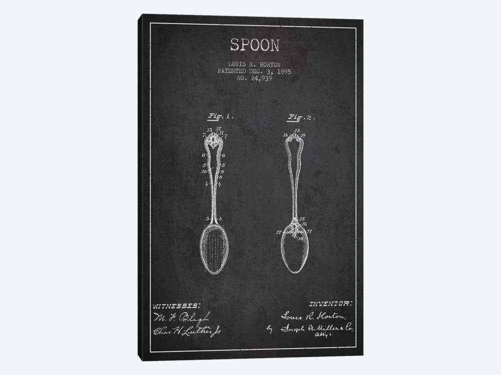 Spoon Charcoal Patent Blueprint by Aged Pixel 1-piece Canvas Art Print