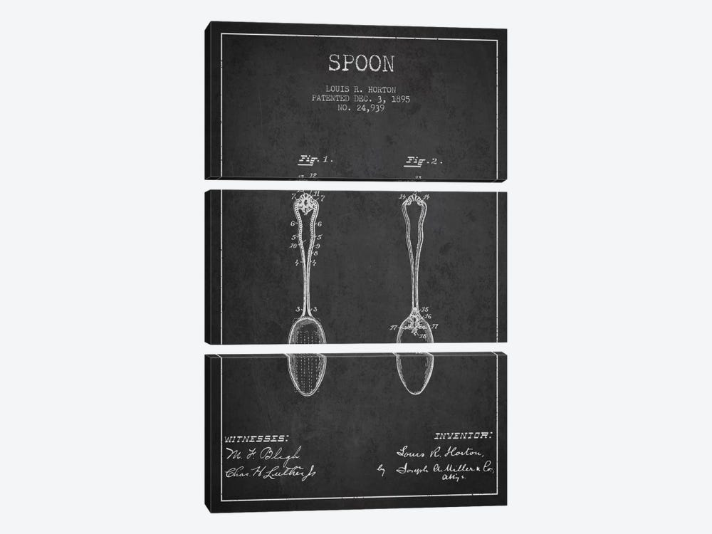Spoon Charcoal Patent Blueprint by Aged Pixel 3-piece Art Print